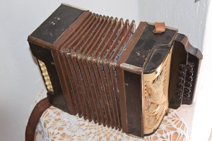 Old dusty accordion