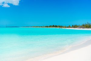 Perfect white sandy beach with turquoise water