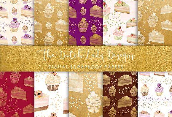 Cupcake Pattern - Scrapbook Papers