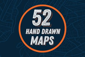 52 Hand Drawn Maps Set