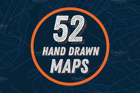 52 Hand Drawn Maps Set in Illustrations