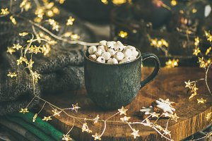 Christmas winter hot chocolate with marshmallows, square crop