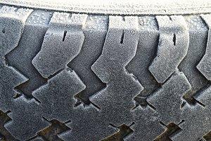 Hoarfrost on a rubber tire wheel