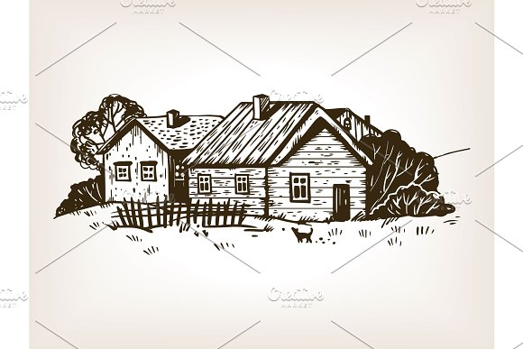Rural landscape engraving vector illustration