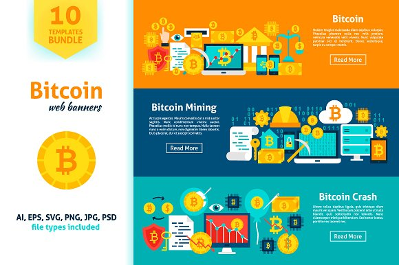 Bitcoin Banners in Illustrations