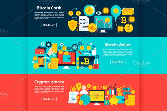 Bitcoin Banners in Illustrations - product preview 1