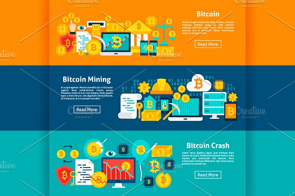 Bitcoin Banners in Illustrations - product preview 3