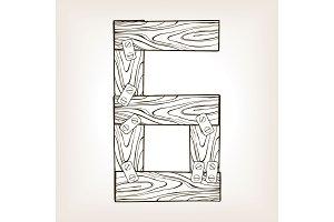 Wooden number 6 engraving vector illustration