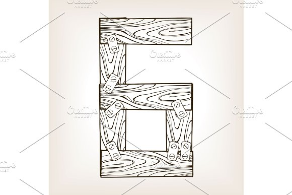 Wooden number 6 engraving vector illustration
