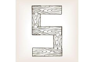 Wooden number 5 engraving vector illustration