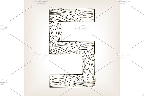 Wooden number 5 engraving vector illustration