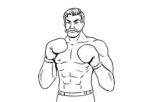 Vintage boxer fighter coloring book vector