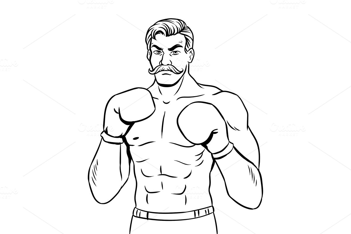Vintage boxer fighter coloring book vector in Objects
