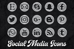 Social Media Icons - Water Drops