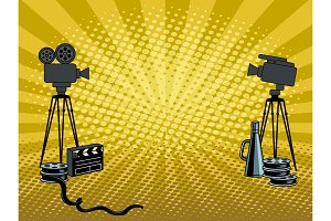 Stage movie cameras pop art vector illustration