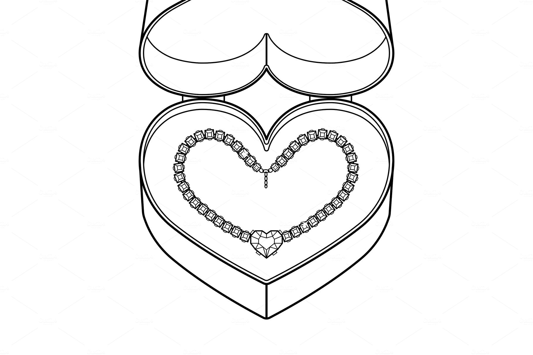 Diamond necklace coloring book vector ~ Graphic Objects