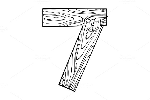 Wooden number 7 engraving vector illustration