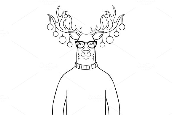 Christmas deer with toys coloring book vector in Illustrations