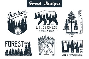 Forest Logo and Camping Badges
