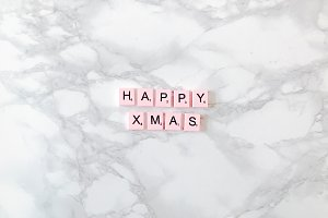 Happy Xmas on a marble desk
