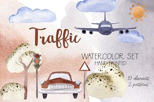Traffic Hand Painted Watercolor Set