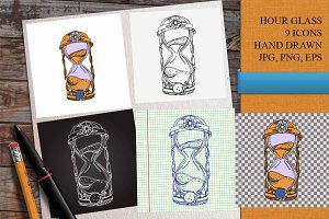 Hourglass hand drawn