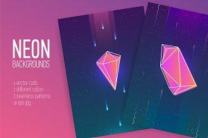 Neon gemstones, mineral crystals