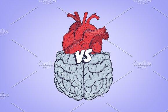 Heart vs brain in Illustrations