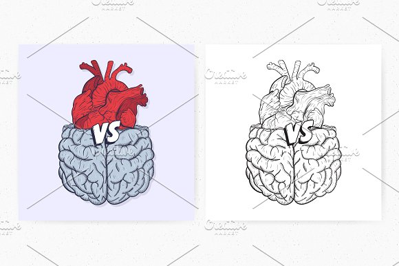 Heart vs brain in Illustrations - product preview 1