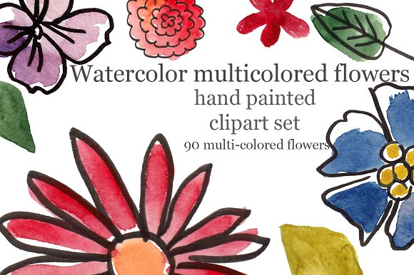 Watercolor plants and flowers