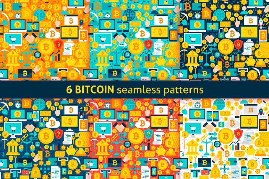Bitcoin Flat Seamless Patterns