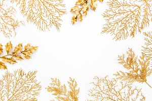 Frame made of golden leaves