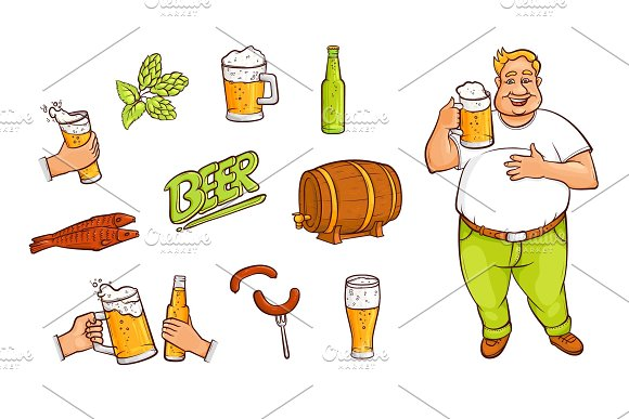 Beer bottle, mug, glass, drinking man, appetrizers in Illustrations