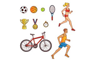 Hand-drawn set of running people and sport items