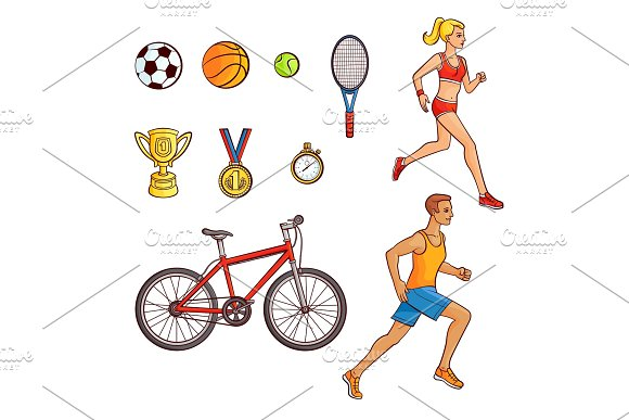 Hand-drawn set of running people and sport items in Illustrations