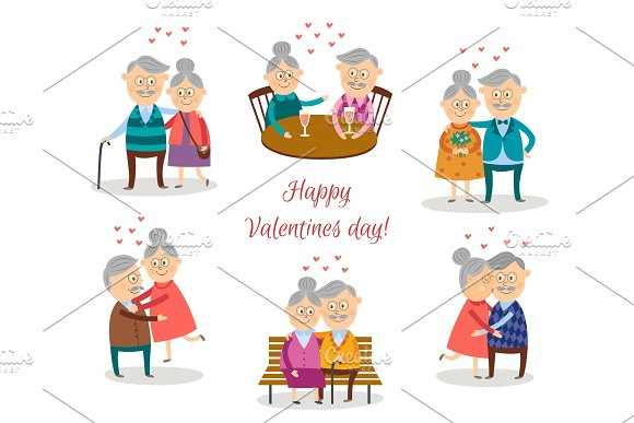 vector senior couples in love at valentine s day