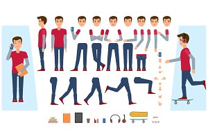 Vector flat male teenager creation set