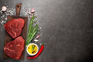 Raw meat. Raw beef steak