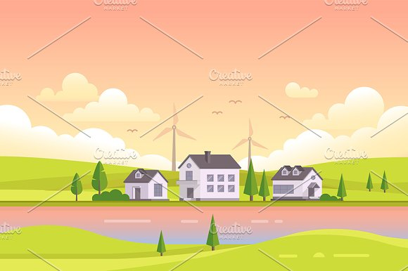 Small houses by the river during sunset - modern vector illustration