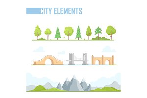 Set of city elements - modern vector cartoon isolated illustration