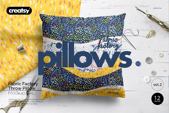 Fabric Factory vol.2: Pillow Mockup in Product Mockups