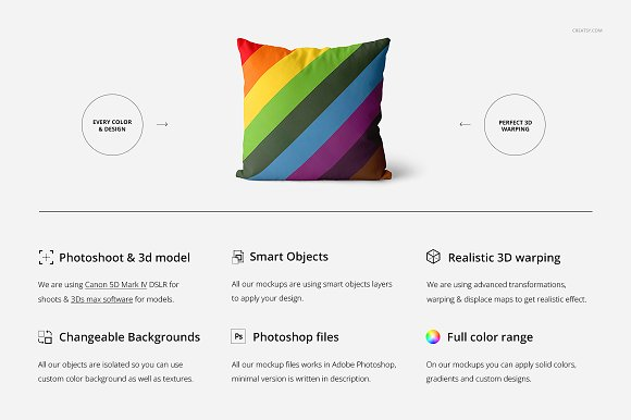 Fabric Factory vol.2: Pillow Mockup in Product Mockups - product preview 1