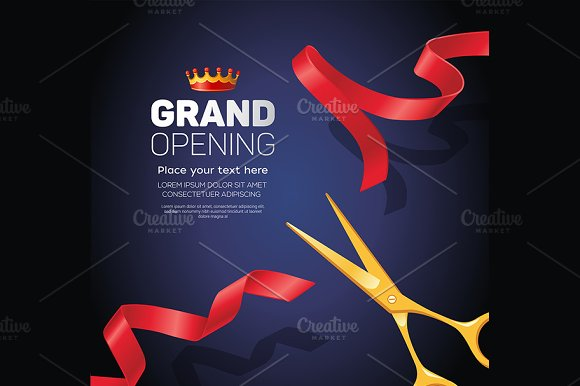 Grand opening template - modern vector illustration on blue background