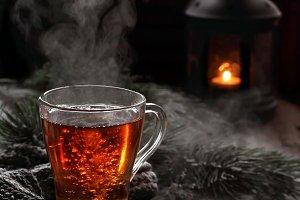 boiling black tea in winter scenery