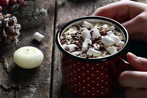 mug of hot coffee with marshmallow