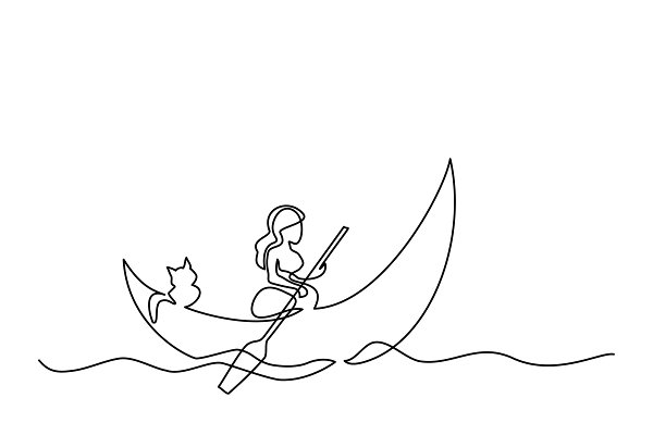 Girl with cat on dinghy moon