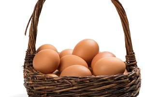 Basket with chicken eggs.