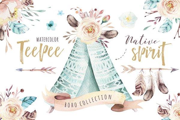 Native spirit. Watercolor collectio…