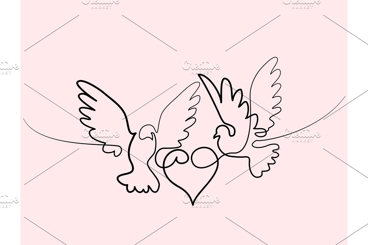 Flying two pigeons with heart logo