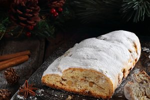 Cutted Stollen on a metal tray